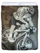 Mountainbike Sports Action Grunge Monochrome Duvet Cover