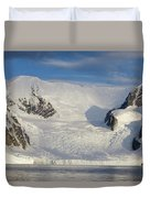 Mountains And Glacier At Sunset Duvet Cover