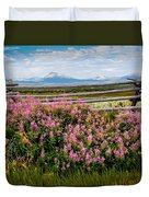 Mountains And Wildflowers Duvet Cover