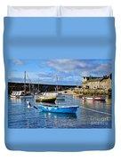 Mousehole Harbour Morning Duvet Cover
