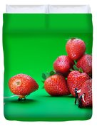 Moving Strawberries To Depict Friction Food Physics Duvet Cover