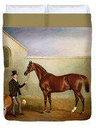 Mr Meakin Holding Sir Robert Peels Chestnut Hunter With His Dogs Hector And Jem Duvet Cover