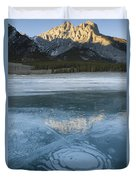 Mt. Abraham And Ice On Abraham Lake Duvet Cover