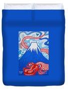 Mt. Fuji And A Red Dragon Duvet Cover