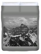 T-703512-bw-mt. Hungabee From Summit Of Mt. Lefroy-bw Duvet Cover