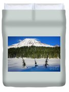 Mt Rainier And Three Trees Duvet Cover