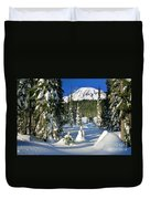 Mt Rainier At Reflection Lakes In Winter Duvet Cover