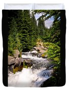 Mt. Rainier Waterfall Duvet Cover