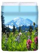 Mt. Rainier Wildflowers Duvet Cover