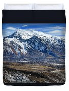 Mt. Timpanogos In Winter From Utah Valley Duvet Cover