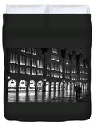Cobblestone Night Walk In The Town Duvet Cover