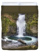 Multhomah Falls In Winter Duvet Cover