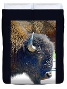 Multi-color-eyed Bison Near Wildlife Loop Road In Custer State Park-south Dakota Duvet Cover