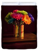 Multicolored Chrysanthemums In Paint Can Duvet Cover