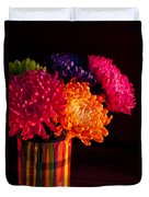 Multicolored Chrysanthemums In Paint Can On Chest Of Drawers Int Duvet Cover