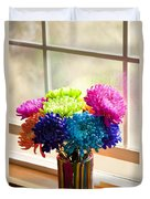 Multicolored Chrysanthemums In Paint Can On Window Sill Duvet Cover