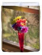 Multicolored Daisies On Window Sill Duvet Cover