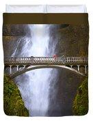 Multnomah Falls Bridge In Oregon Duvet Cover