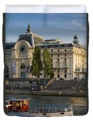 Musee D'orsay Along River Seine Duvet Cover