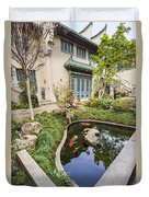 Museum Koi - Courtyard Of The Pacific Asia Museum In Pasadena. Duvet Cover