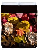 Mushrooms In Fall Leaves Duvet Cover