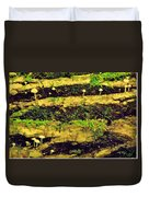 Mushrooms Lichen And Moss On Log Duvet Cover