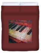 Music Is The Key - Painting Of A Keyboard Duvet Cover