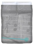 Musical Notes And Instruments Set To Gray With A Blue Drumstick Accent  Duvet Cover