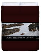Mussel Collectors At Low Tide - Shellfish - Low Tide Duvet Cover