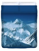 Mustagh Tower At Center And Masherbrum Duvet Cover