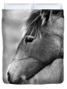 Mustang Close 1 Bw Duvet Cover by Roger Snyder