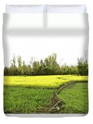Mustard Fields In Kashmir On The Way To The Town Of Sonamarg Duvet Cover