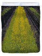 Mustard Grass In Vineyards Duvet Cover