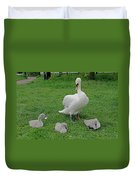 Mute Swan With Cygnets Duvet Cover