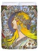 My Acrylic Painting As An Interpretation Of The Famous Artwork Of Alphonse Mucha - Zodiac - Duvet Cover
