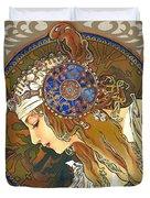 My Acrylic Painting As Interpretation Of Alphonse Mucha- Byzantine Head. The Blonde. Diagonal Frame. Duvet Cover by Elena Yakubovich