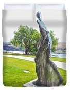 My Favorite View Of Metal Sculpture In Front Of Maryhill Museum Of Art-wa Duvet Cover