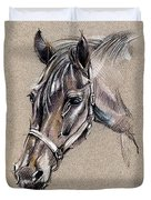 My Horse Portrait Drawing Duvet Cover