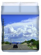 My House Over The Hill Under The Clouds Duvet Cover