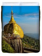 Myanmar's Golden Rock Pagoda Duvet Cover