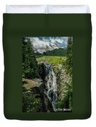Myrtle Falls In Front Of Mt. Rainier Duvet Cover