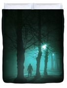 Mysterious Man In A Foggy Forest Duvet Cover