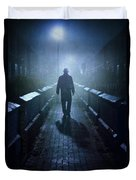 Mysterious Man In Fog At Night Duvet Cover