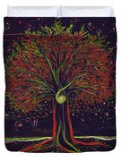 Mystic Spiral Tree Red By Jrr Duvet Cover