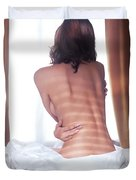 Naked Back Of A Woman Sitting On A Bed Duvet Cover