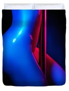Naked Woman Pole Dancing Closeup Of Nude Body Duvet Cover