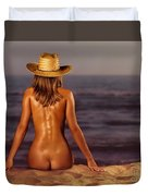 Naked Woman Sitting At The Beach On Sand Duvet Cover