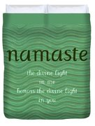 Namaste With Blue Waves Duvet Cover