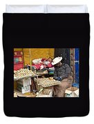 Nap Time For Child And Street Shopkeeper In Lhasa-tibet   Duvet Cover