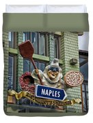 Naples Pizzeria Signage Downtown Disneyland Duvet Cover